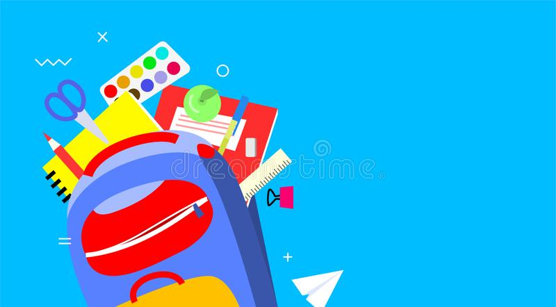 Terug naar schoolbanner, vlak ontwerp, achtergrondmalplaatje vectorillustratie Kleurrijke schoollevering in rugzak EPS10 stock afbeeldingen