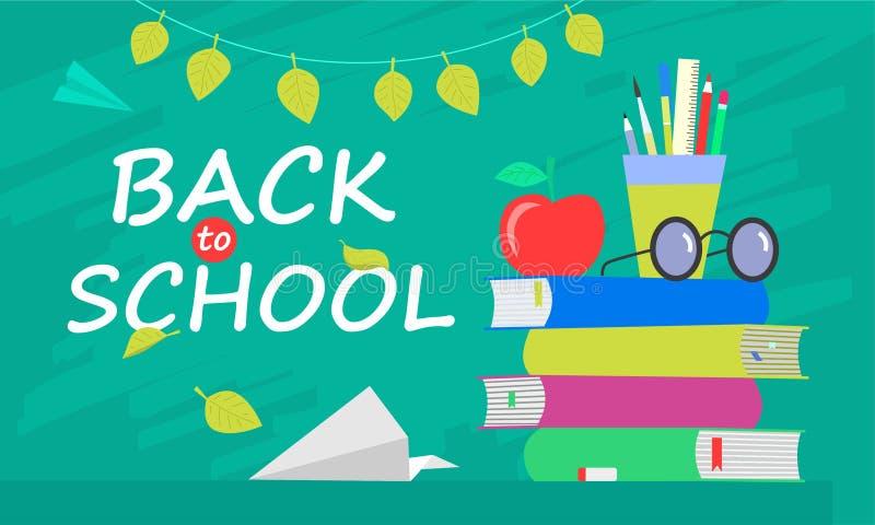 Terug naar schoolbanner, vlak ontwerp, achtergrondmalplaatje vectorillustratie met het van letters voorzien citaat EPS10 stock afbeelding
