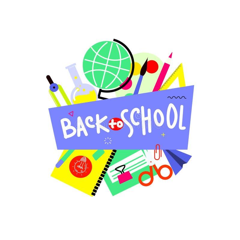 Terug naar schoolbanner, vlak ontwerp, achtergrondmalplaatje vectorillustratie met het van letters voorzien citaat EPS10 royalty-vrije stock afbeeldingen