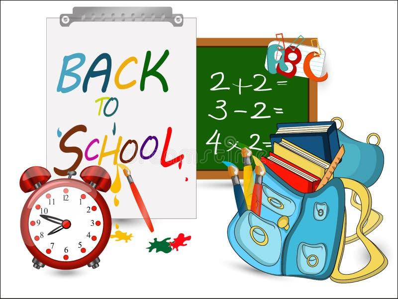 Terug naar schoolbanner, Wekker, Schooltas met borstels vector illustratie
