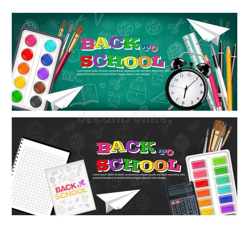 Terug naar schoolbanners geplaatst Vector realistisch Wekker, borstels, potlood, waterverfpaletten vector illustratie