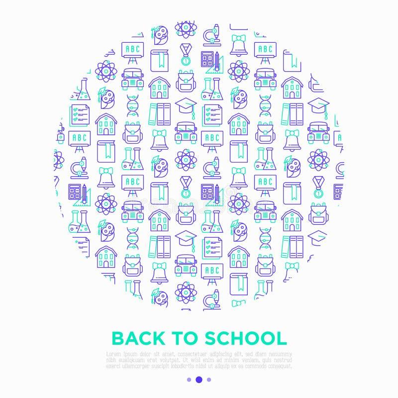 Terug naar schoolconcept in cirkel met dunne lijnpictogrammen: rugzak, klok, boek, microscoop, kennis, chemie, wiskunde, stock illustratie