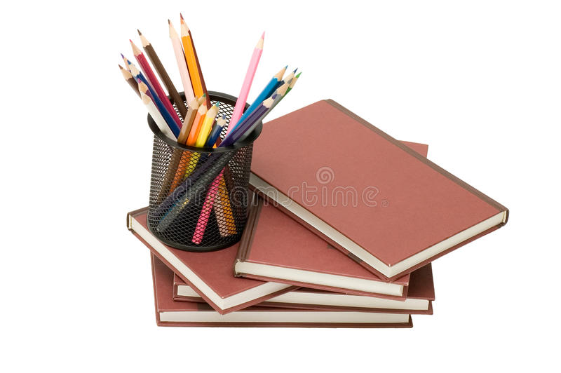 Terug naar schoolconcept met boeken en potloden