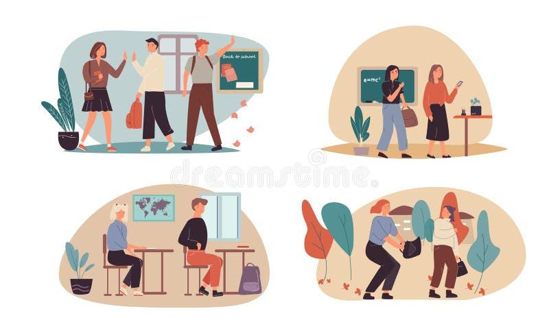 Terug naar Schoolconcept met vier ontwerpen van schoolkinderen die bij universiteit aankomen, die de leraar begroeten, die in kla stock illustratie