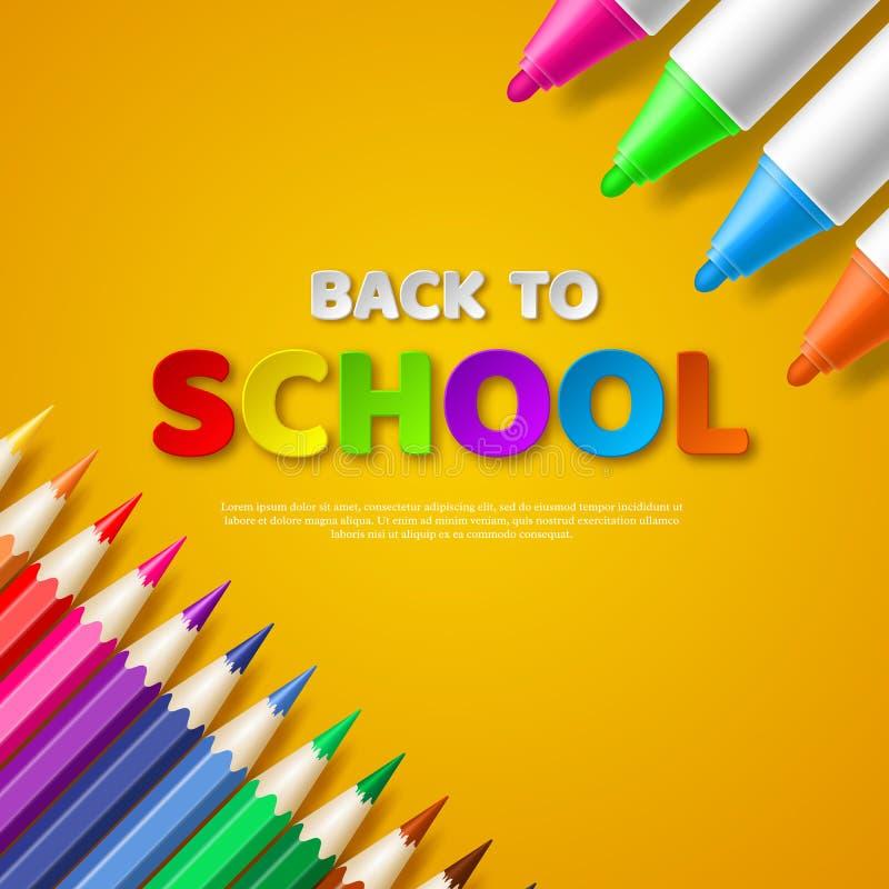 Terug naar schooldocument de brieven van de besnoeiingsstijl met realistische kleurrijke potloden en tellers Gele achtergrond stock illustratie