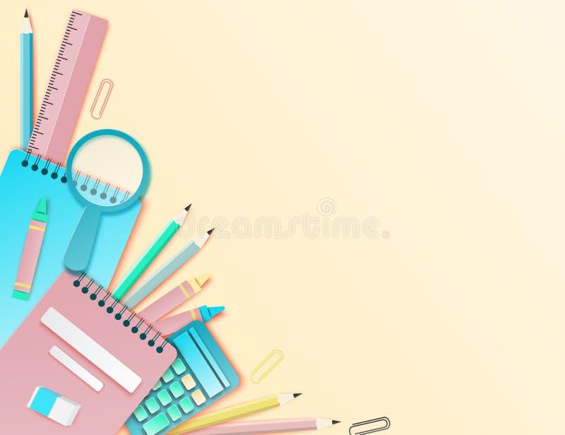 Terug naar schooldocument kunstachtergrond met notitieboekje, potlood, heerser vector illustratie