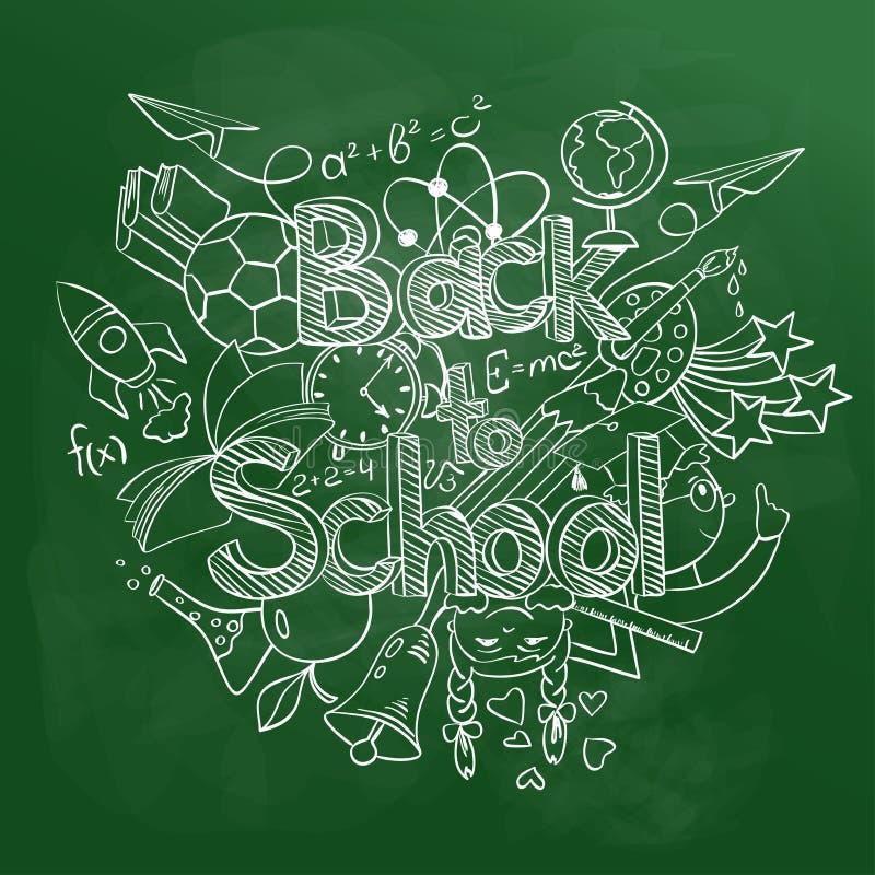 Terug naar Schoolgekrabbel op een Groen Bord vector illustratie