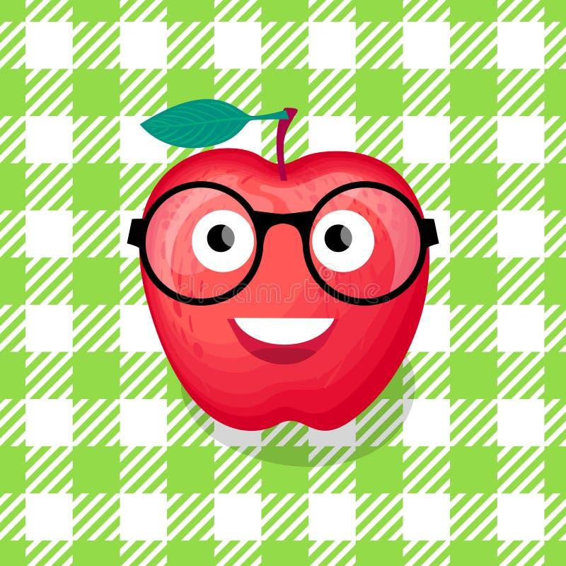 Terug naar schoolillustratie Vectorkarakter rood Apple met glazen stock illustratie