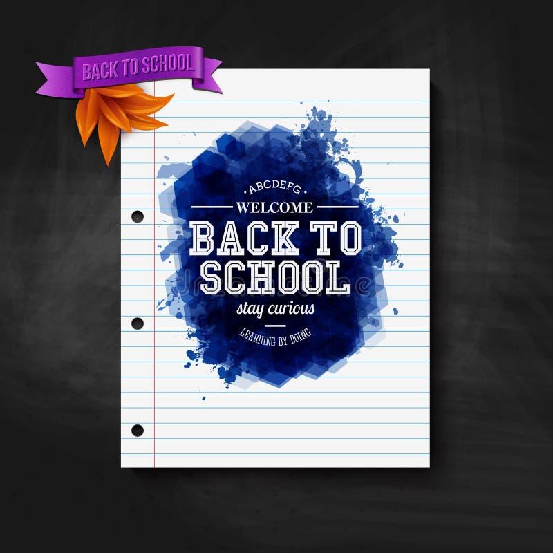 Terug naar schoolkaart Bord, typografieontwerp royalty-vrije illustratie