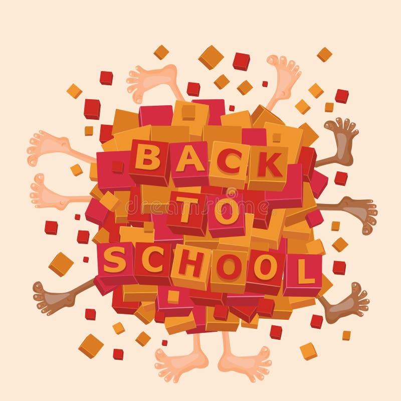 Terug naar schoolkaart Gelukkig kinderenconcept stock illustratie