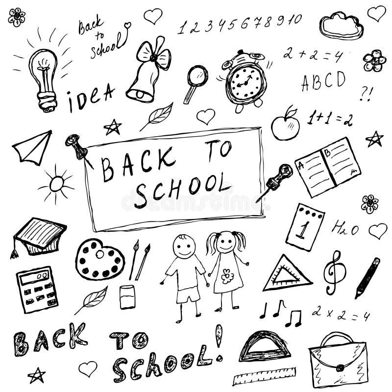 Terug naar schoolkrabbels Hand getrokken geplaatste schoolpictogrammen Geplaatste de pictogrammen van de schetsschool Vector illu vector illustratie
