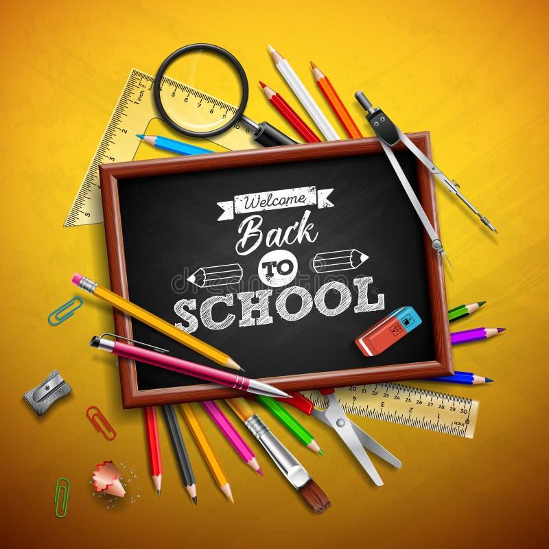 Terug naar schoolontwerp met kleurrijk potlood, gom en andere schoolpunten op gele achtergrond Vectorillustratie met stock illustratie
