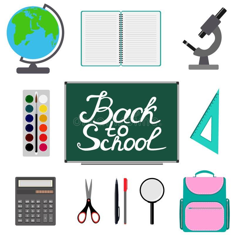 Terug naar schoolontwerp Reeks Schoollevering met terug naar school hand het getrokken van letters voorzien Schooltas, calculator vector illustratie