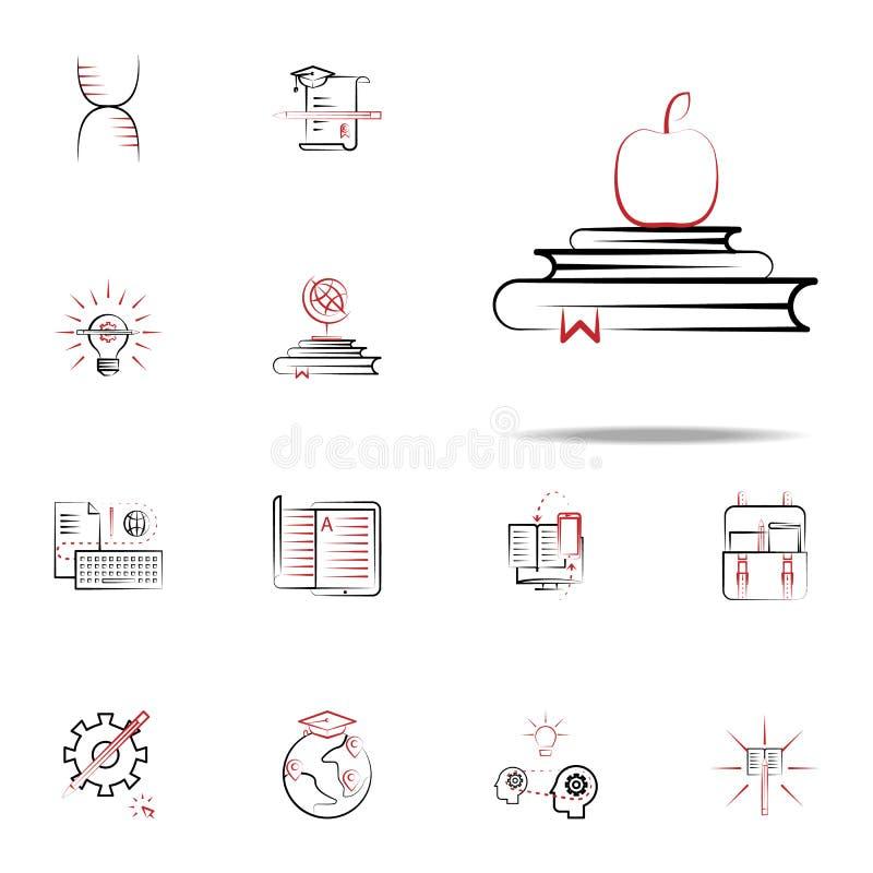 Terug naar schoolpictogram Voor Web wordt geplaatst dat en het mobiele algemene begrip van onderwijspictogrammen stock illustratie
