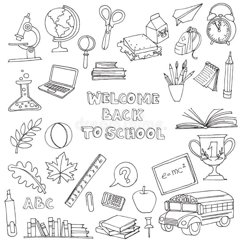 Terug naar schoolreeks jonge geitjeskrabbels met bus, boeken, computer, bl stock illustratie
