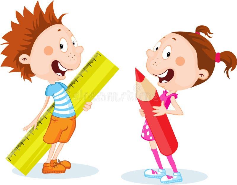 Terug naar schoolstudent, leveren het meisje en de jongensschool - heerser en pen - vector vlak ontwerp stock illustratie