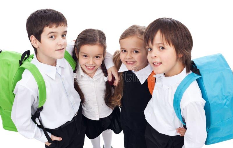 Terug naar schoolthema met groep kinderen - close-up royalty-vrije stock afbeeldingen