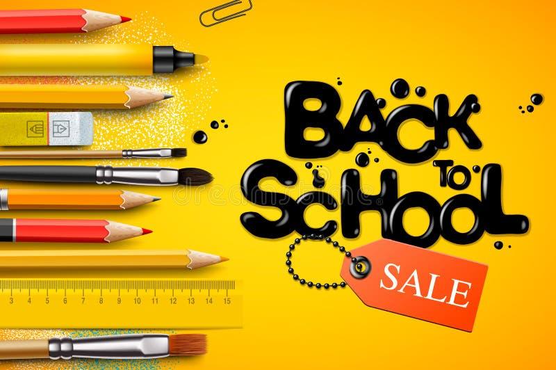 Terug naar Schoolverkoop, affiche en banner met kleurrijke potloden en elementen voor kleinhandels marketing bevordering en onder vector illustratie