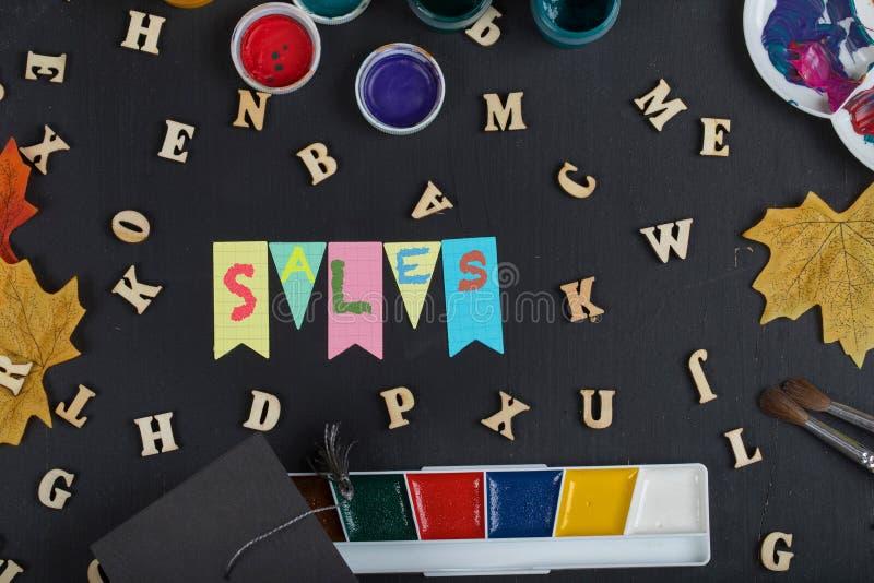 Terug naar schoolverkoop Kleurrijke achtergrond royalty-vrije stock foto