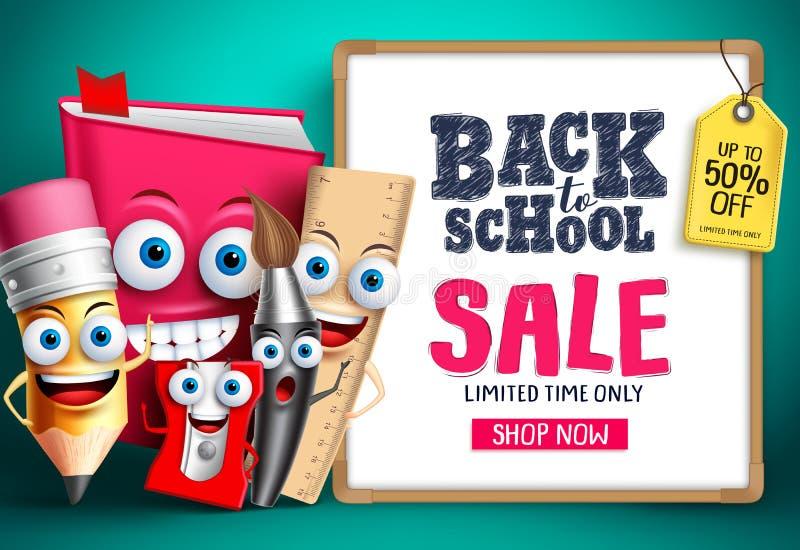 Terug naar schoolverkoop met school vectorkarakters De mascottes van onderwijspunten het gelukkige tonen whiteboard royalty-vrije illustratie