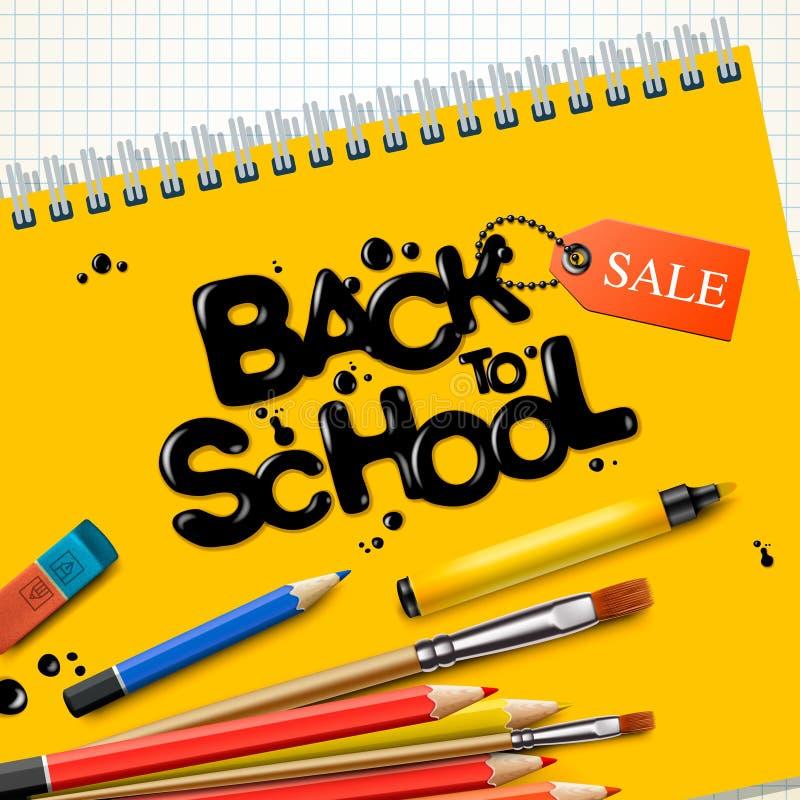 Terug naar schoolverkoop Ontwerp met kleurrijke potloden en geel notitieboekje op geruite document achtergrond, vectorillustratie royalty-vrije illustratie