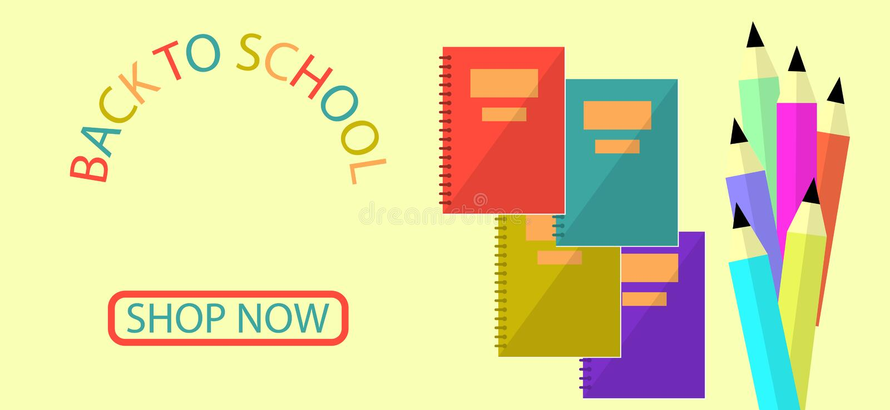 Terug naar van het Conceptenbunner van het Schoolonderwijs het Vlakke ontwerp royalty-vrije illustratie