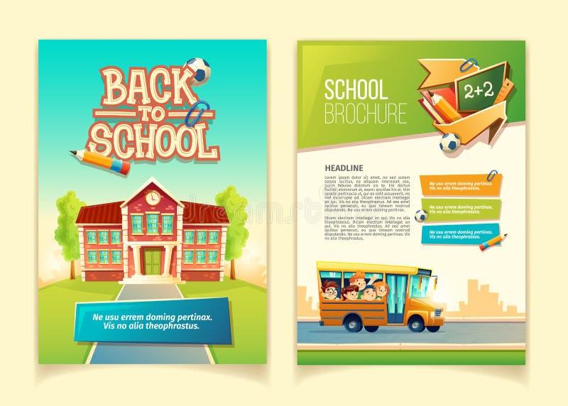 Terug naar vector het beeldverhaalmalplaatje van de schoolbrochure stock illustratie