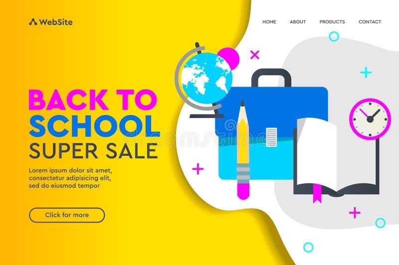 Terug naar vector het conceptenlandingspagina van de schoolverkoop Vectorillustratie voor de affiche en de website van de banners stock illustratie