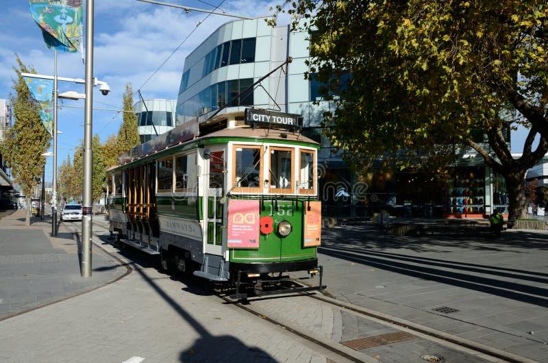 Terug op spoor in Christchurch stock afbeeldingen