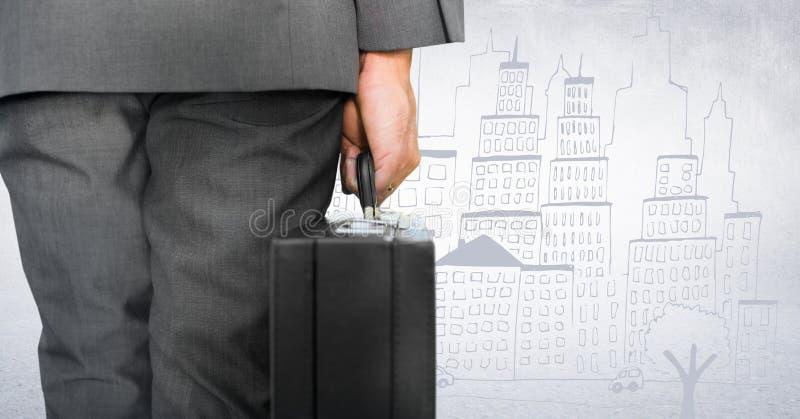 Terug van bedrijfsmensen lager lichaam met aktentas tegen witte muur en stadskrabbel stock afbeelding