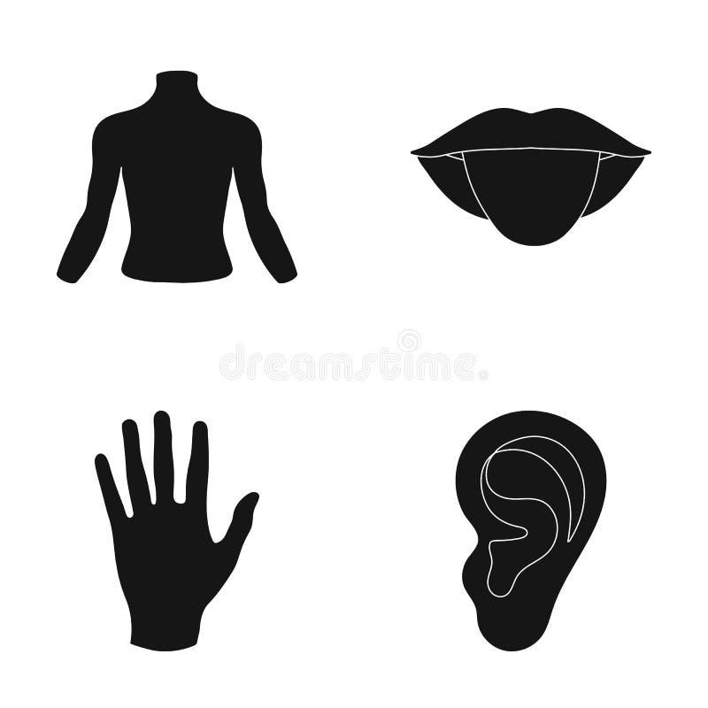 Terug van de persoon, mond, hand, oor Een deel van de pictogrammen van de lichaams vastgestelde inzameling in de zwarte voorraad  stock illustratie