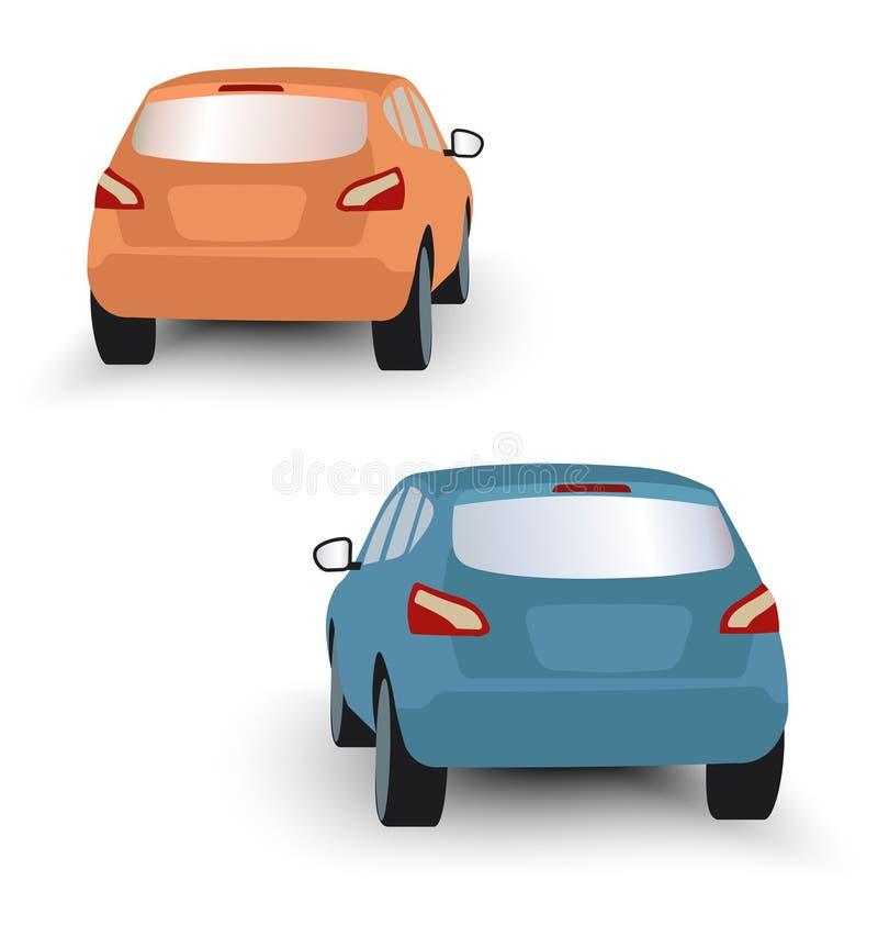 Terug van de sinaasappel en het blauw van vijfdeursautoauto's in vector op witte backgr royalty-vrije illustratie