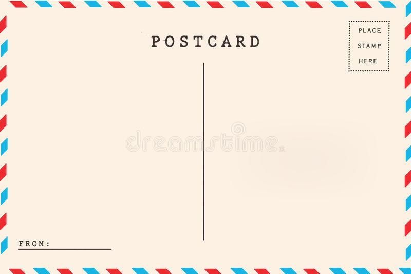 Terug van luchtpost lege prentbriefkaar vector illustratie
