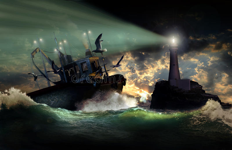 Terug van visserij stock illustratie
