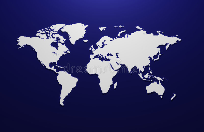 Teruggegeven 3d kaart van de wereld vector illustratie