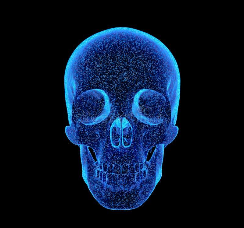 Teruggegeven blauwachtig x-ray beeld van menselijke schedel - zijprojectie 3D Illustratie vector illustratie