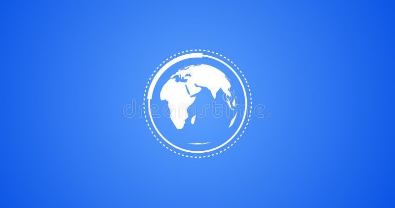 Teruggegeven Illustratie die van Aardebol met de Vectoranimatie van Infographic in Blauw roteren en Wit royalty-vrije illustratie