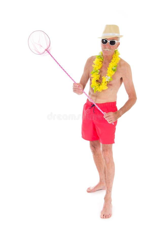 Teruggetrokken mens bij het strand royalty-vrije stock fotografie