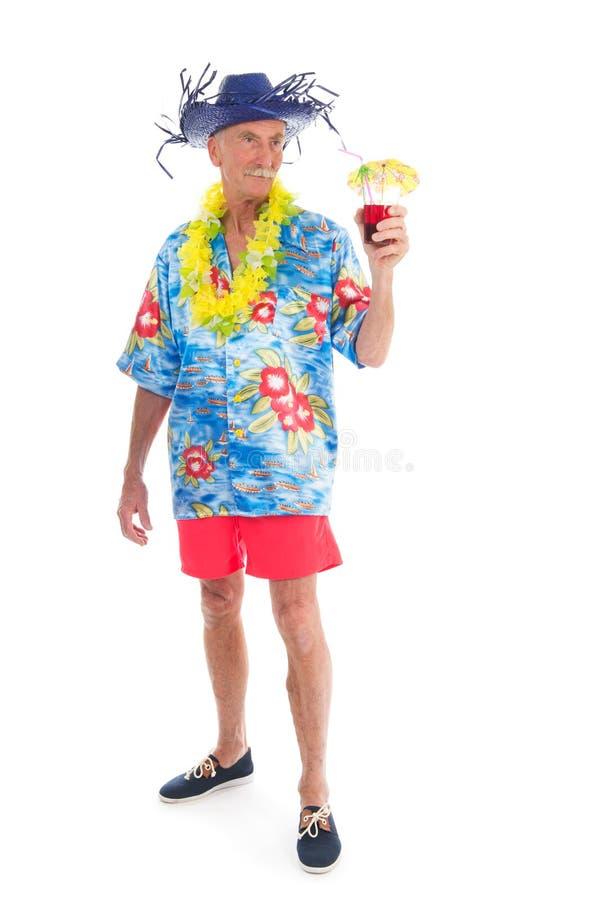 Teruggetrokken mens op vakantie stock foto's