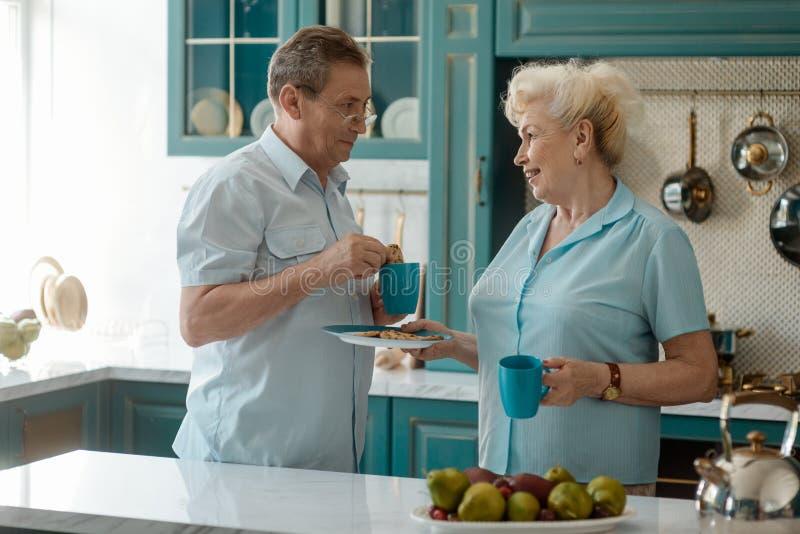 Teruggetrokken paar die een ontbijt hebben stock afbeelding