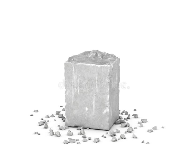 Teruggevend groot rechthoekig blok van grijze rots en zijn spaanders die op witte achtergrond wordt geïsoleerd royalty-vrije stock foto's
