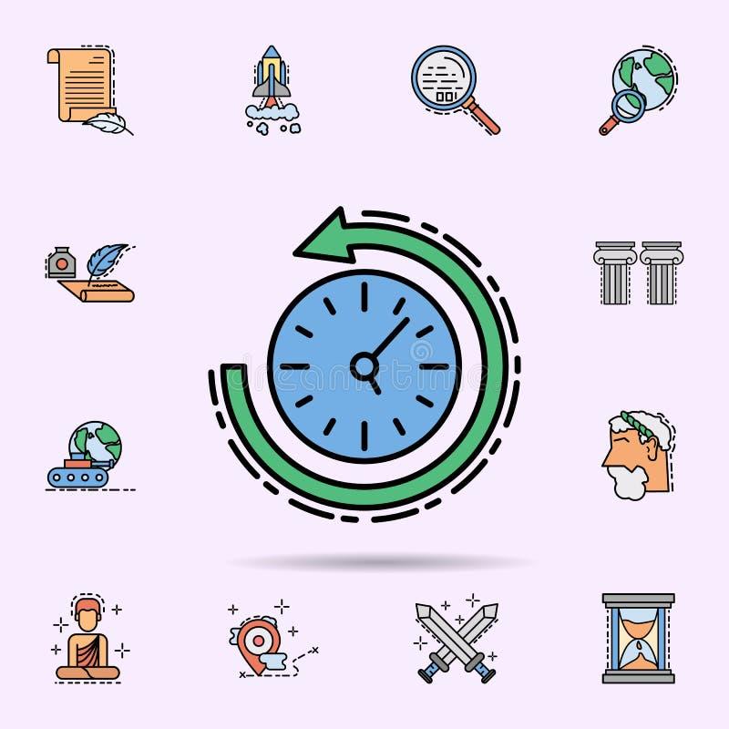 terugkeer naar afgelopen, tijd en datumpictogram Universele reeks van geschiedenis voor websiteontwerp en ontwikkeling, app ontwi royalty-vrije illustratie
