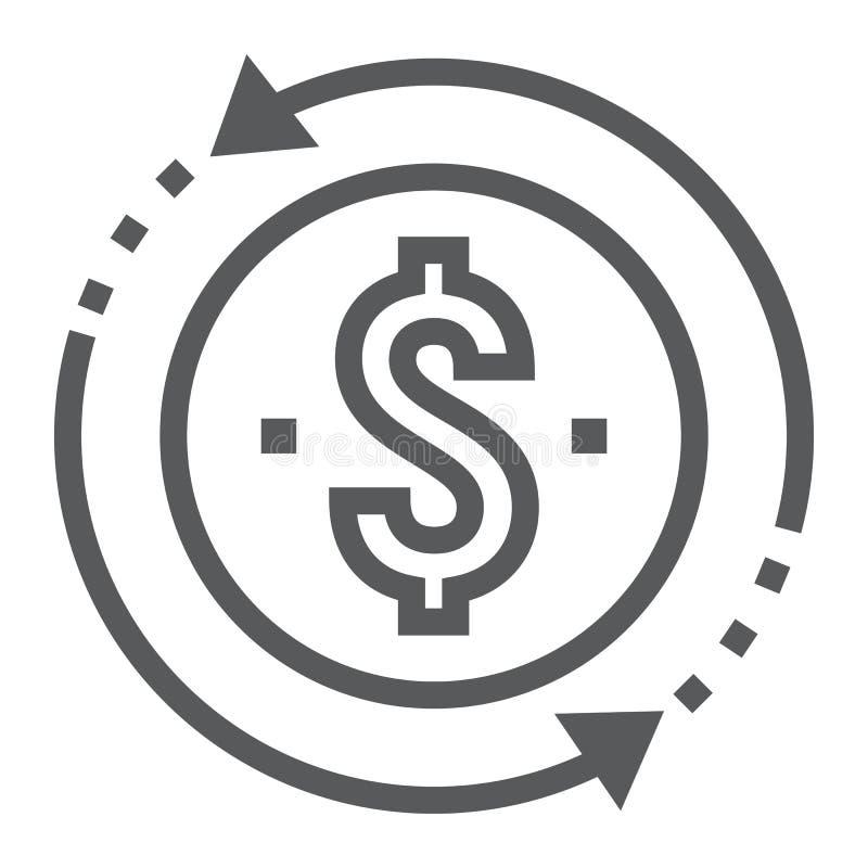 Terugkeer op het pictogram van de investeringslijn, ontwikkeling vector illustratie
