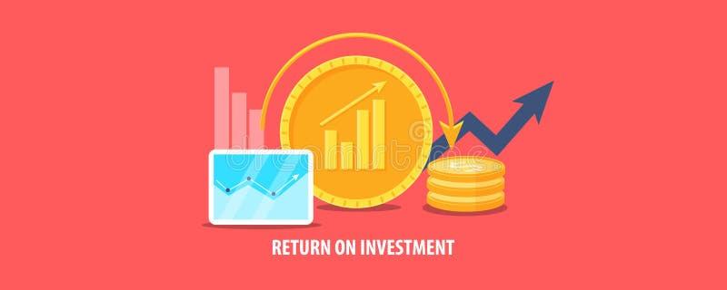 Terugkeer op investering, de bedrijfsgroei, marketing en financiënbegroting, geld, winst, opbrengstconcept Vlakke ontwerp vectorb stock illustratie