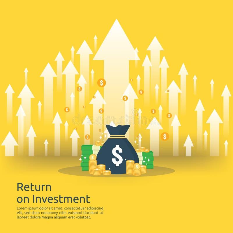 Terugkeer op investeringsroi concept bedrijfs de groeipijlen aan succes de stapelmuntstukken van de dollarstapel en geldzak de wi stock illustratie