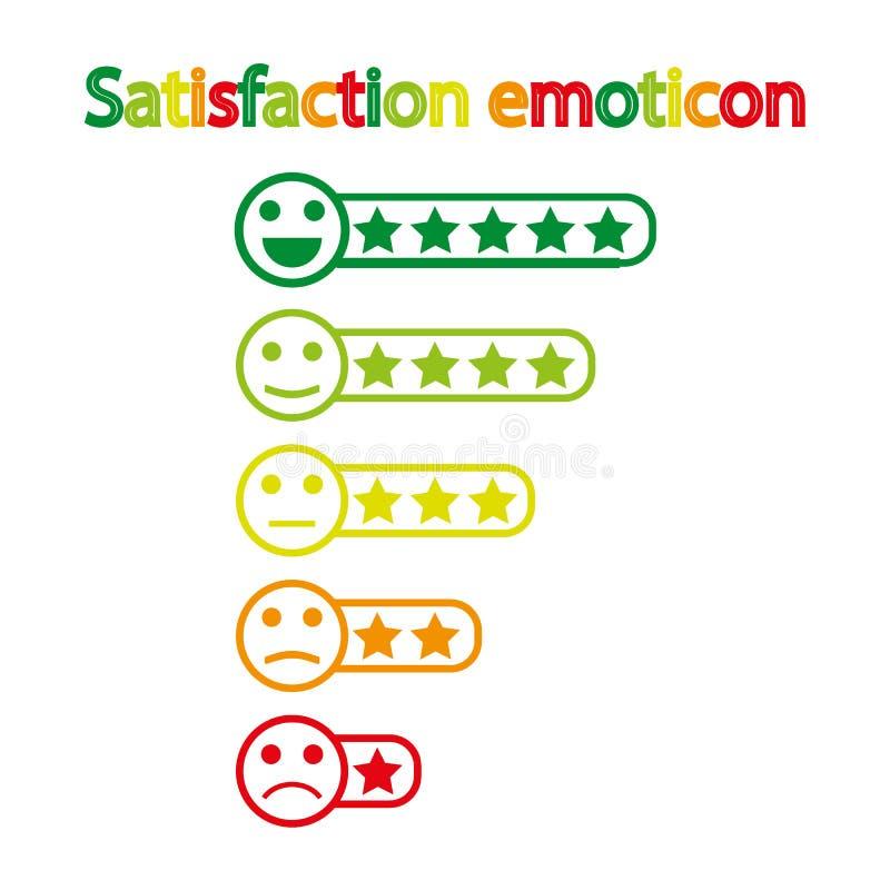 Terugkoppeling emoticon Rang of niveau van tevredenheidsclassificatie Overzicht in vorm van emoties, smileys, emoji vector illustratie