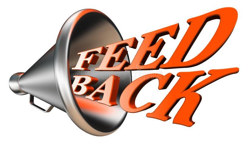 Terugkoppelings oranje woord in megafoon stock illustratie