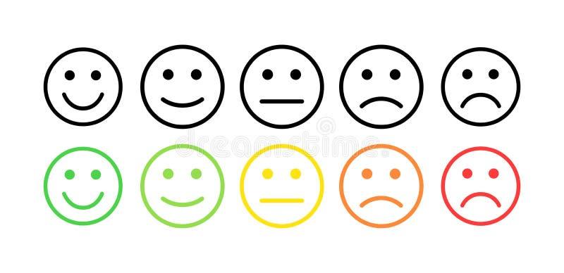 Terugkoppelings vectorconcept Rang, niveau van tevredenheidsclassificatie Uitstekende, goede, normale, slechte vreselijk Terugkop royalty-vrije illustratie