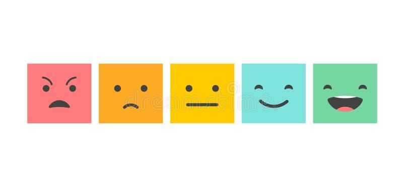 Terugkoppelingsconceptontwerp, emoticon, emoji en glimlach, emotiesschaal royalty-vrije illustratie