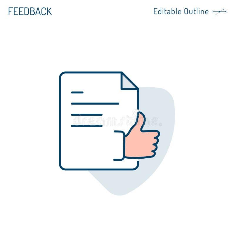 Terugkoppelingspictogram, document, Bedrijfsvoorstelgoedkeuring, duimen omhoog, overeenkomst, Examenresultaat, Editable-slag royalty-vrije illustratie
